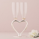 Weddingstar 8441 Silver Plated Interlocking Heart Stems Wedding Champagne Glasses