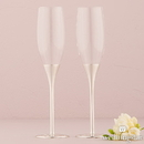 Weddingstar 8700 Silver Wedding Champagne Glasses with Crystal Gems
