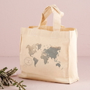 Weddingstar 9219-1252-48-02 Wanderlust World Map Personalized Tote Bag Mini Tote with Gussets