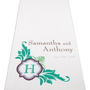 Weddingstar 9301-P-1016-47 Lavish Monogram Personalized Aisle Runner - White With Hearts