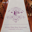 Weddingstar 9301-P-1219-47 Fanciful Monogram Personalized Aisle Runner - White With Hearts