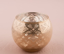 Weddingstar Glass Globe Votive Holder With Reflective Lace Pattern Large