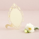 Weddingstar 9668-79 Laser Expressions Small Oval Baroque Frame Folded Place Card - Ivory