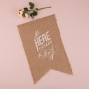 Weddingstar 9718 Natural Burlap Ceremony Sign - White Print Here Comes the Bride