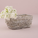 Weddingstar 9791-08 Tapered Wicker Basket with White Wash and Liner - Medium White