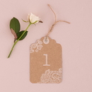 Weddingstar 9801 Large Kraft Tag with Vintage Lace White Print Numbers Numbers 1-12