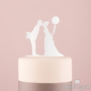 Weddingstar 9844-08 Leaning in Silhouette Acrylic Cake Topper - White