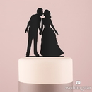 Weddingstar 9848-10 With a Kiss Silhouette Acrylic Cake Topper - Black