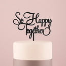 Weddingstar 9850-10 So Happy Acrylic Cake Topper - Black