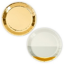 Weddingstar T167-55 Mini Gold Foil And Grey Appetizer Party Plates