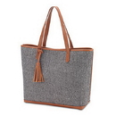 Weddingstar T305 Women'S Large Knit Fabric Tote Bag With Faux Leather Accents- Grey