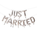 Weddingstar T452-77 Silver Mylar Foil Letter Balloon Decoration - Just Married