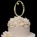 Elegance by Carbonneau 0-Flower-Gold French Flower ~ Swarovski Crystal Wedding Cake Topper ~ Gold Number 0