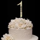 Elegance by Carbonneau 1-Flower-Gold French Flower ~ Swarovski Crystal Wedding Cake Topper ~ Gold Number 1