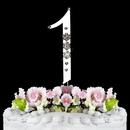 Elegance by Carbonneau 1-Flower-Silver French Flower ~ Swarovski Crystal Wedding Cake Topper ~ Silver Number 1