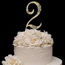 Elegance by Carbonneau 2-Flower-Gold French Flower ~ Swarovski Crystal Wedding Cake Topper ~ Gold Number 2