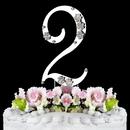 Elegance by Carbonneau 2-Flower-Silver French Flower ~ Swarovski Crystal Wedding Cake Topper ~ Silver Number 2