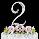 Elegance by Carbonneau 2-Sparkle-Silver Sparkle ~ Swarovski Crystal Wedding Cake Topper ~ Silver Number 2