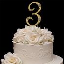Elegance by Carbonneau 3-Flower-Gold French Flower ~ Swarovski Crystal Wedding Cake Topper ~ Gold Number 3
