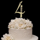 Elegance by Carbonneau 4-Flower-Gold French Flower ~ Swarovski Crystal Wedding Cake Topper ~ Gold Number 4