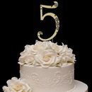 Elegance by Carbonneau 5-Flower-Gold French Flower ~ Swarovski Crystal Wedding Cake Topper ~ Gold Number 5