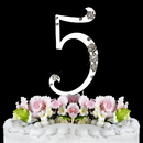 Elegance by Carbonneau 5-Flower-Silver French Flower ~ Swarovski Crystal Wedding Cake Topper ~ Silver Number 5