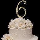 Elegance by Carbonneau 6-Flower-Gold French Flower ~ Swarovski Crystal Wedding Cake Topper ~ Gold Number 6