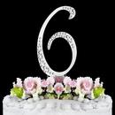 Elegance by Carbonneau 6-Sparkle-Silver Sparkle ~ Swarovski Crystal Wedding Cake Topper ~ Silver Number 6