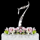 Elegance by Carbonneau 7-French-Silver French Flower ~ Swarovski Crystal Wedding Cake Topper ~ Silver Number 7