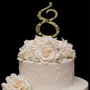 Elegance by Carbonneau 8-Flower-Gold French Flower ~ Swarovski Crystal Wedding Cake Topper ~ Gold Number 8