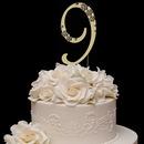 Elegance by Carbonneau 9-Flower-Gold French Flower ~ Swarovski Crystal Wedding Cake Topper ~ Gold Number 9