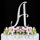 Elegance by Carbonneau A-Sparkle-Silver Sparkle ~ Swarovski Crystal Wedding Cake Topper ~ Silver Letter A