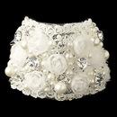 Elegance by Carbonneau B-1422-S-IV Silver Ivory Fabric & Pearl Rose Bracelet 1422