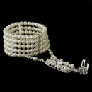 Elegance by Carbonneau B-1892 Silver 5 Row Ivory Pearl Great Gatsby 1920s Inspired Stretch Bracelet with Ring
