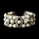 Elegance by Carbonneau B-2519-AS-Cream Silver Clear & Cream Coil Cuff Pearl Bracelet 2519