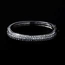 Elegance by Carbonneau B-3107-Silver Classy Silver Clear Rhinestone Bangle Bracelet 3107