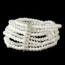Elegance by Carbonneau B-4983-S-WH Silver Multi 7 Strand White Pearl & Light AB Swarovski Crystal Stretch Bracelet 4983