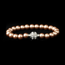 Elegance by Carbonneau B-720-S-Dusty-Rose Dusty Rose Glass Pearl Pave Ball Bridal Bracelet 720