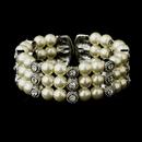 Elegance by Carbonneau B-721-AS-Ivory Antique Silver Ivory Pearl & Rhinestone Bridal Cuff Bracelet 721