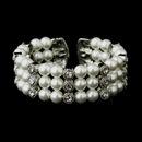 Elegance by Carbonneau B-721-AS-White Antique Silver White Pearl & Rhinestone Bridal Cuff Bracelet 721