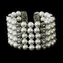 Elegance by Carbonneau B-722-AS-White Antique Silver 5 Row White Pearl & Rhinestone Cuff Bridal Bracelet 722