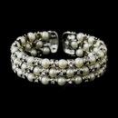 Elegance by Carbonneau B-723-AS-Ivory Antique Silver Ivory 3 Row Pearl & Rhinestone Cuff Bridal Bracelet 723