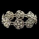 Elegance by Carbonneau B-76002-RD-WH Rhodium White Pearl Floral Rhinestone Bracelet 76002