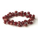 Elegance by Carbonneau B-7617-Ruby Ruby Flower Bracelet 7617