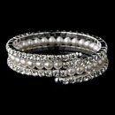 Elegance by Carbonneau B-81094 Stunning Silver Rhinestone & Ivory Pearl Coil Bracelet 81094