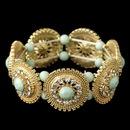 Elegance by Carbonneau B-82043-G-Mint Gold Mint Green Stone & Clear Rhinestone Stretch Bracelet 82043