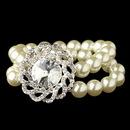 Elegance by Carbonneau B-82055-S-DW Silver Diamond White Pearl & Swirl Rhinestone Stretch Bracelet 82055