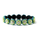 Elegance by Carbonneau B-8543-Green Glistening Four Tone Green Crystal Stretch Bracelet 8543