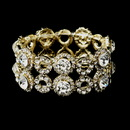 Elegance by Carbonneau B-8658-G-Clear Gold Clear Crystal Stretch Bridal Bracelet 8658