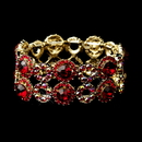 Elegance by Carbonneau B-8658-G-Red Gold Red & AB Crystal Bridal Stretch Bracelet 8658
